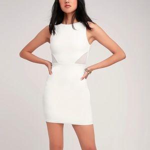 White Mesh Cutout Bodycon Dress
